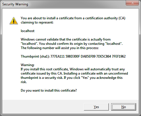 Print Screen of the Security Warning Popup