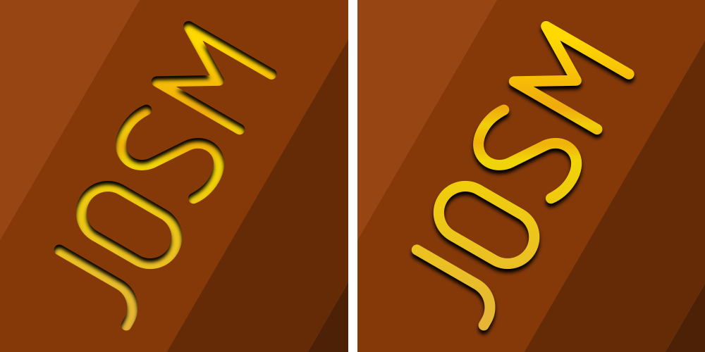 Before-After comparison of the word JOSM (the left version needs masks and thus can't be displayed in JOSM easily)