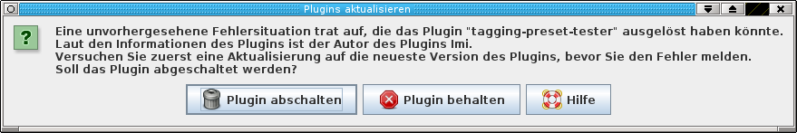 error message of the plugin tagging-preset-tester