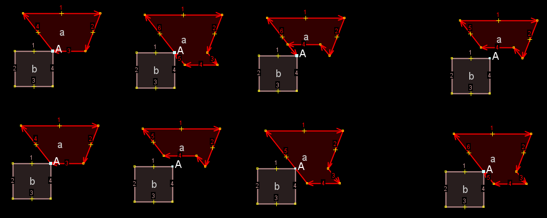 Upper row: 1. original, 2. extrude from 1 downwards, 3. extrude from 2 upwards, 4. extrude from 1 upwards [[br]] Lower row: 1. original, 2. extrude from 1 upwards, 3. extrude from 2 downwards, 4. extrude from 1 downwards