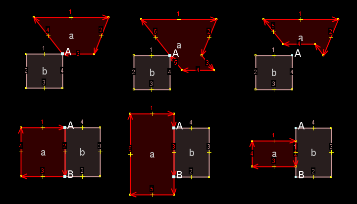 IgnoreSharedNodes1-OverlappingSegmentOnly.patch in action [[br]] Upper row: 1. original, 2. extrude from 1 downwards, 3. extrude from 1 upwards [[br]] Lower row: 1. original, 2. extrude from 1 outwards, 3. extrude from 1 inwards