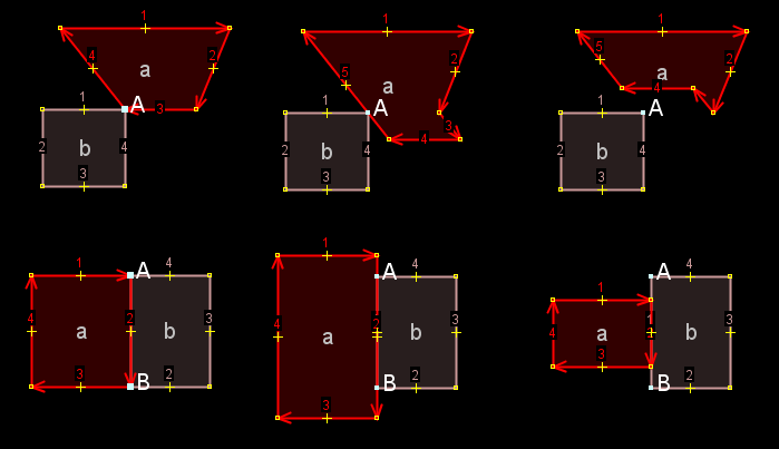 IgnoreSharedNodes2-BothDirections.patch in action [[br]] Upper row: 1. original, 2. extrude from 1 downwards, 3. extrude from 1 upwards [[br]] Lower row: 1. original, 2. extrude from 1 outwards, 3. extrude from 1 inwards