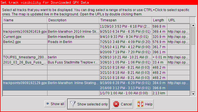 Example of the choose track visibility dialog for downloaded GPX data. Two tracks have been selected.