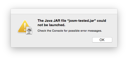Error message from Mac OS X : In this case using Java 6 rather than Java 7.