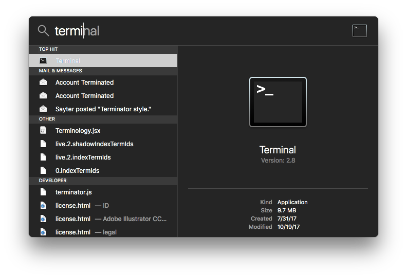 How to find macOS Terminal